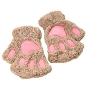 Brown furry animal fingerless hand warmers